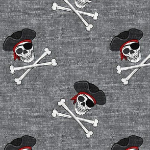 pirates - skull and cross bone - grey - LAD19