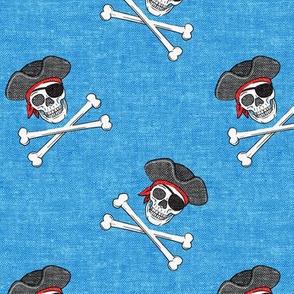 pirates - skull and cross bone - blue - LAD19