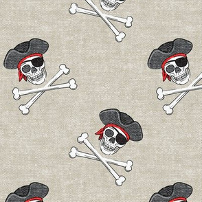 pirates - skull and cross bone - beige - LAD19