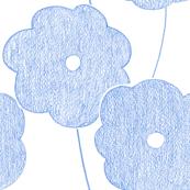 big blue crayon flowers