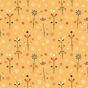 Folklore Florals on yellow seamless pattern