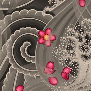 ★ SAKURA ★ Pink Cherry Blossom Japanese Tattoo / Vintage Sepia - Jumbo Scale / Collection : Irezumi - Japanese Tattoo Prints