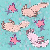 Kawaii Axolotl 2 pink and blue