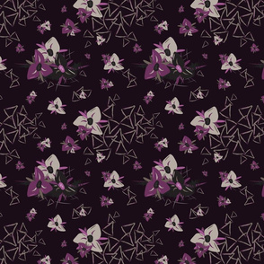Moonlit Flowers Purple with Triangles by thetruethread