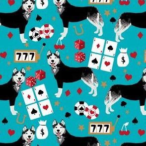 husky casino fabric - casino fabric, dogs  gambling, dog fabric, husky fabric, casino fabric, vegas fabric -  teal