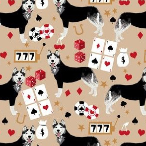 husky casino fabric - casino fabric, dogs  gambling, dog fabric, husky fabric, casino fabric, vegas fabric -  brown
