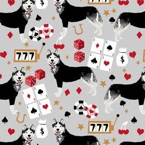 husky casino fabric - casino fabric, dogs  gambling, dog fabric, husky fabric, casino fabric, vegas fabric - grey