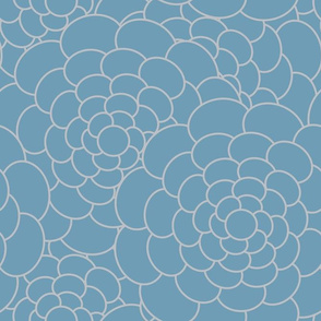 Abstract Floral in Beige and Seafoam Blue