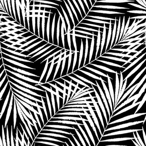 jungle palm leaves - medium scale black ink medium