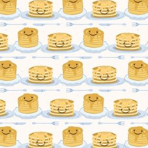 Cute vector blueberry pancake day breakfast illustration