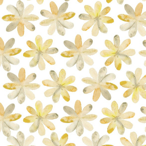 Painted Watercolor Flowers – Mustard Gold Yellow, Large
