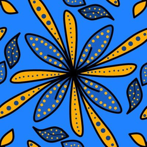 Golden Blue Floral
