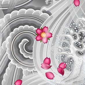 ★ SAKURA ★ Pink Cherry Blossom Japanese Tattoo / Light Gray - Jumbo Scale / Collection : Irezumi - Japanese Tattoo Prints