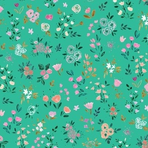Darlene Floral Ditsy- emerald light