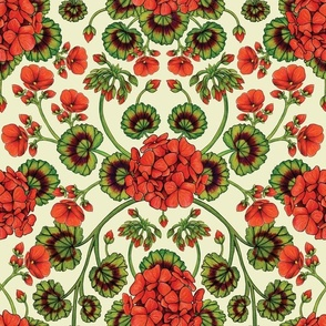 Red Geraniums -  Vintage-Inspired Floral Pattern For Spring
