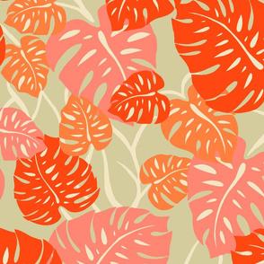 Hawaiian Monstera Leaves- LivingCoral