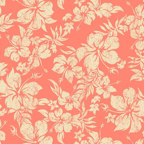 Distressed Hawaiian Hibiscus Floral- Living Coral