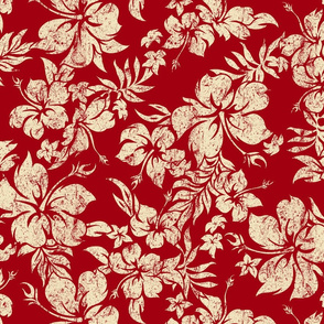 Distressed Hawaiian Hibiscus Floral- Red