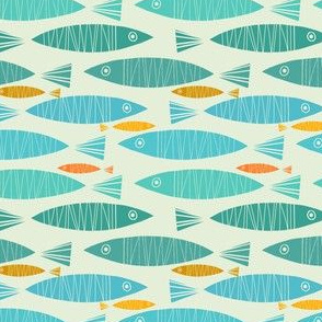 Shimmering Fish In Blue And Gold