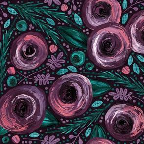 Painted Peonies Moody Floral - Purple