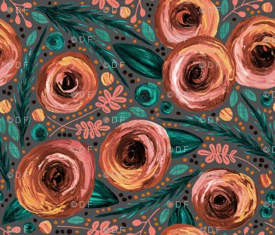 Painted Peonies Moody Floral - Peach
