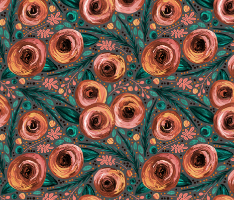 Painted Peonies Moody Floral - Peach fabric by run_quiltgirl_run on Spoonflower - custom fabric
