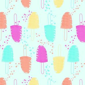 Summer Popsicles - aqua- with splatters