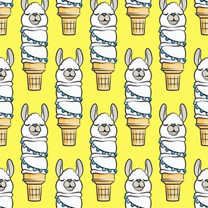 llama ice cream cake cones - stacked yellow - LAD19