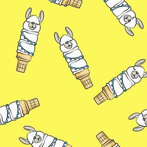 llama ice cream cones - yellow tossed - LAD19