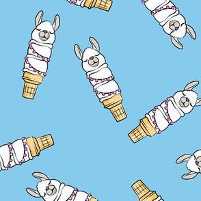 llama ice cream cones - blue tossed - LAD19