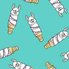 llama ice cream cones - teal tossed - LAD19