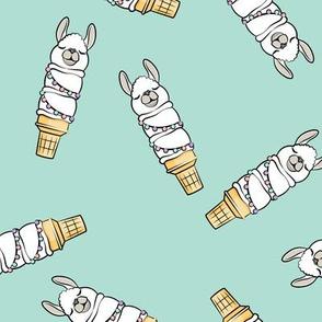 llama ice cream cones - aqua tossed - LAD19