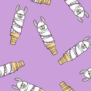 llama ice cream cones - purple tossed - LAD19