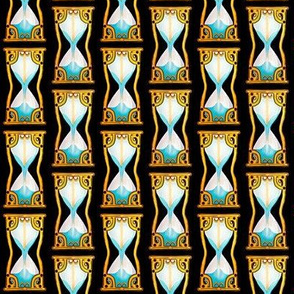 Time keeps on Slipping  /Gold  Victorian Hourglass / Blue Sand  / contoured