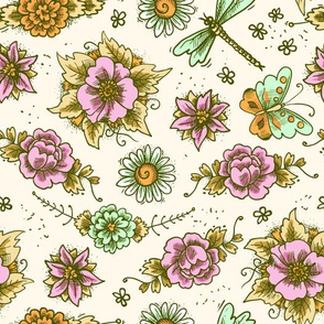 Flowers Dragonflies And Butterflies