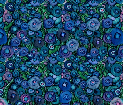 *TK- MOODY ABSTRACT FLOWERS BLUE POPPIES LG fabric by doodledoer-teresakelly on Spoonflower - custom fabric