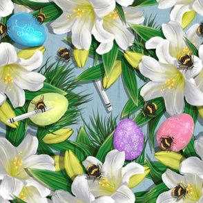 Widdle Bitty Bees//Easter Lilies Eggs Crayons//Blue//Kim Marshall
