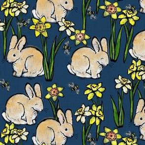 bunny bee + daffodil: twilight blue