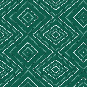 Green and White Diamond Abstract