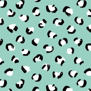 Trendy panther print animals fur modern Scandinavian style raw brush  abstract mint black and white MEDIUM