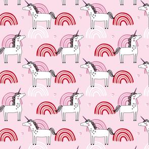Unicorn rainbows girls princess pattern on pink