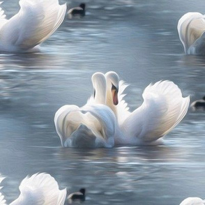 swan couple - painting effect