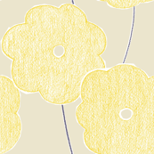 Big yellow crayon flowers on eggshell