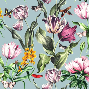 Moody Blooms - Green Gray