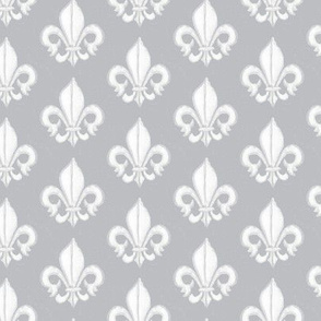 19-03F Gray Grey Watercolor Fleur De Lis