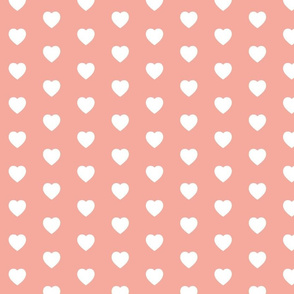 Coral Pink and White Hearts