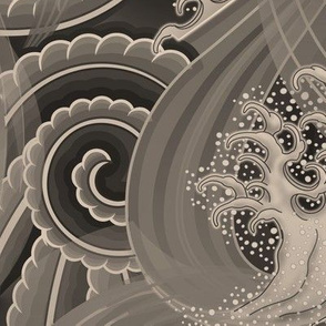 ★ TSUNAMI ★ Wind and Waves Japanese Tattoo / Sepia Gray - Jumbo Scale / Collection : Irezumi - Japanese Tattoo Prints