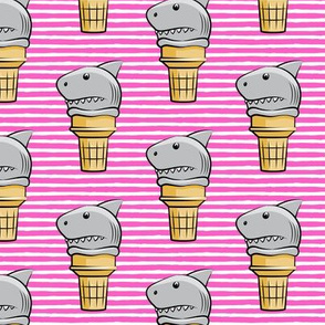 shark ice cream cones - dark pink stripes  - LAD19