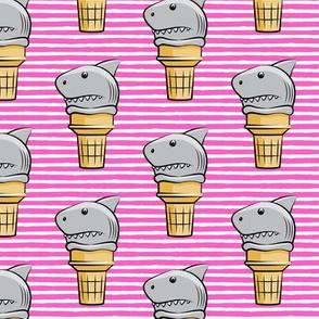 shark ice cream cones - dark pink stripes  - LAD19