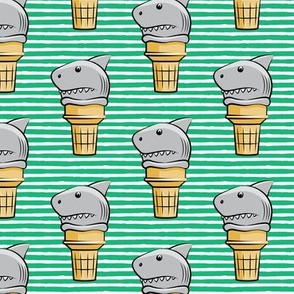 shark ice cream cones - green stripes  - LAD19
